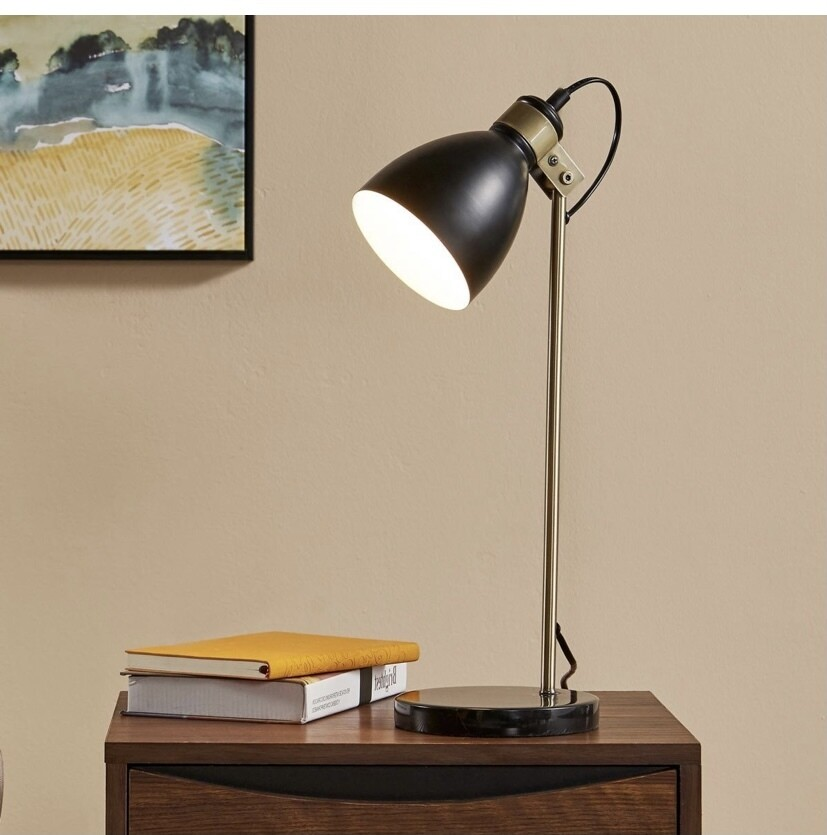 Quincy Table Lamp with Black Marble Base - Black and Antique Brass