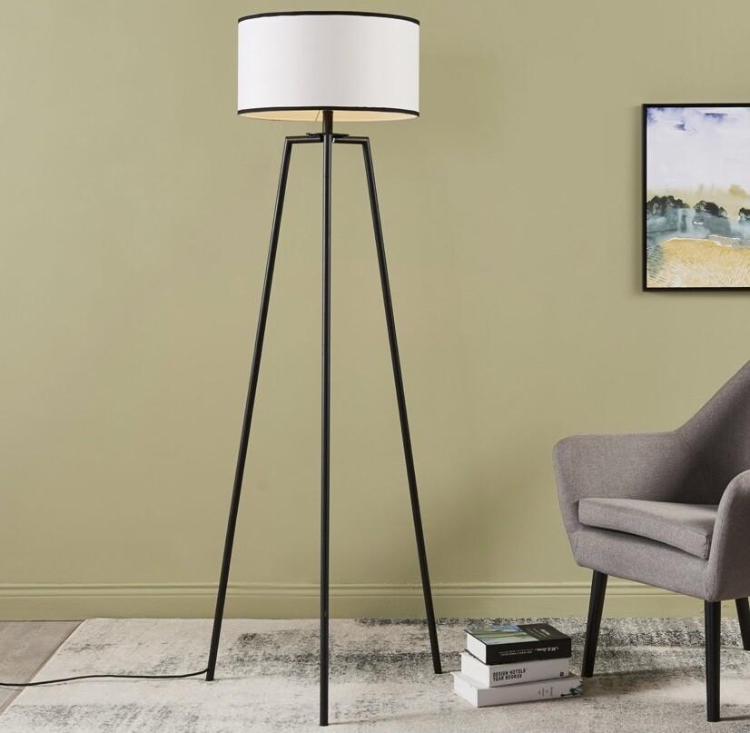 Baker Floor Lamp - White with Black Border Shade