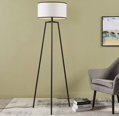 Baker Floor Lamp - White with Black Border Shade