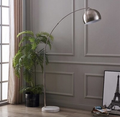 Arquer Arc Floor Lamp With Marble Base, Nickle Finished Shade