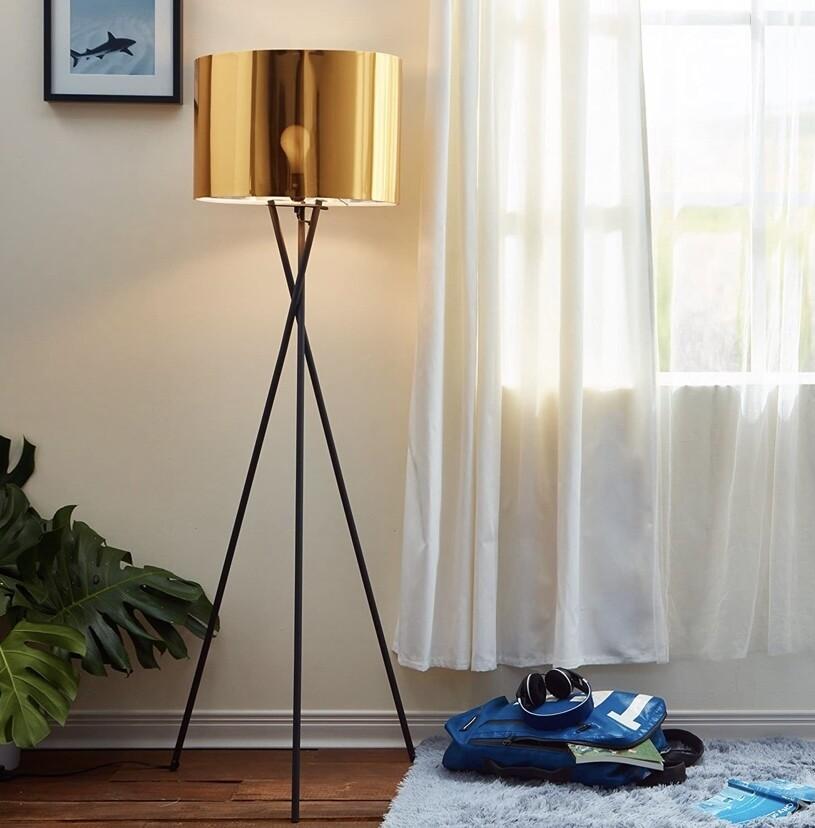 Cara Gold and Black Tripod Floor Lamp L0001