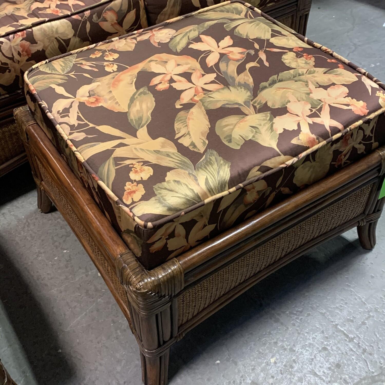 Brown Floral Pattern Wicker Ottoman
