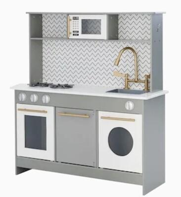 Teamson Kids- Little Chef Berlin Modern Play Kitchen- Grey/White