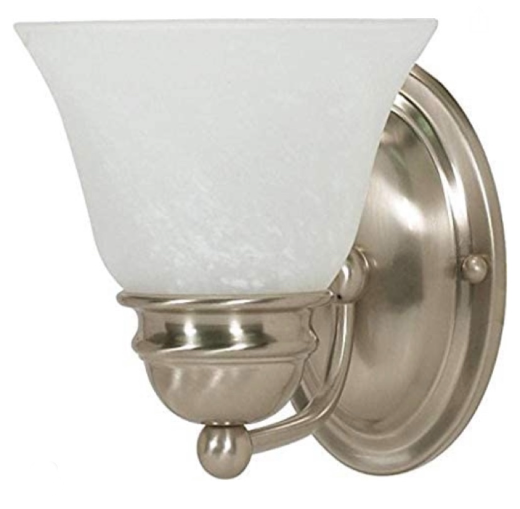 Nuvo  One Light Empire Wall Vanity, 7 in, Brushed Nickel/Alabaster 60-340