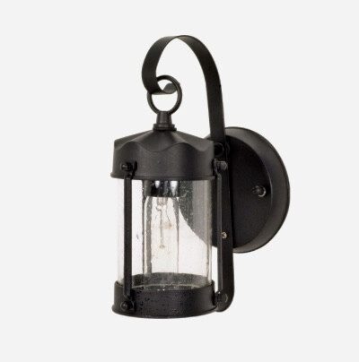 Nuvo  Textured Piper Lantern with Clear Seed Glass, Textured Black 60-635