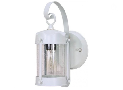 Nuvo  Piper Lantern with Clear Seed Glass, White 60-633