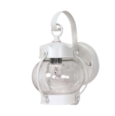 Nuvo  Onion Lantern with Clear Seed Glass, White 60-630