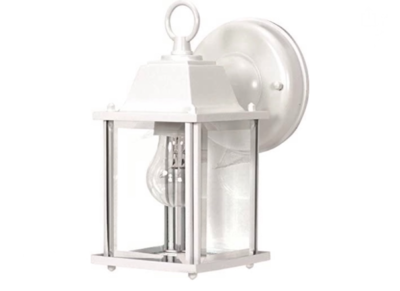 Nuvo  One Light Outdoor Wall Mount, Small Cube Lantern, White 60-636