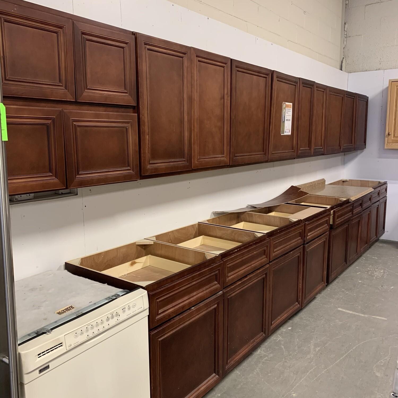 Dark Wood Kitchen Cabinet Set With No Handles