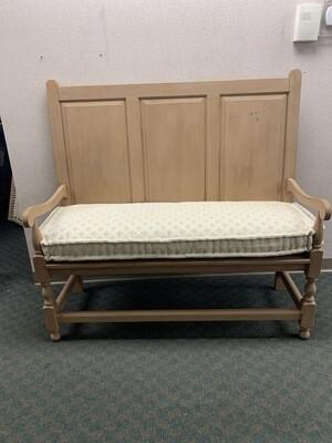 Beige Bench With Cream & Beige Seat Cushion
