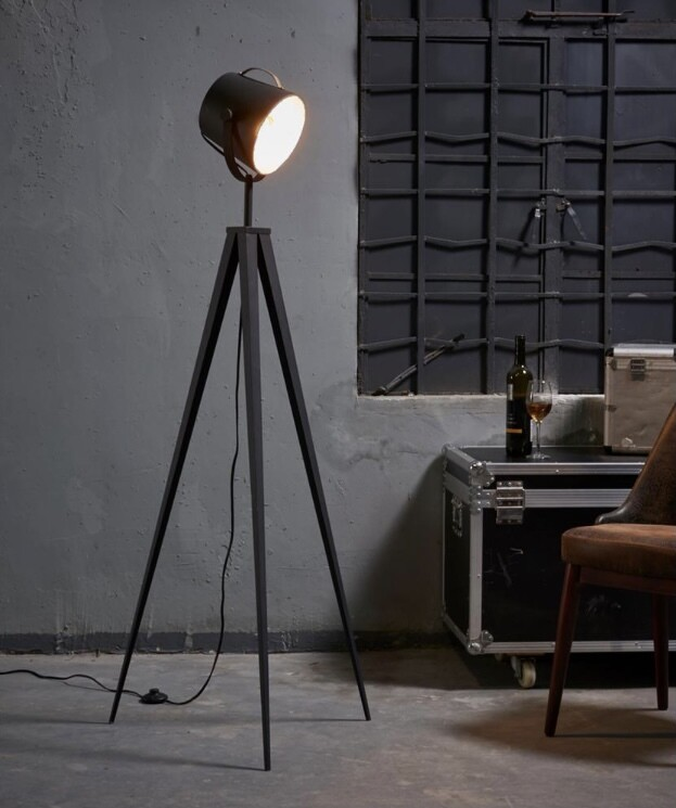 Artiste Tripod Floor Lamp with Shade - Black and Gold Finish VN-L00020