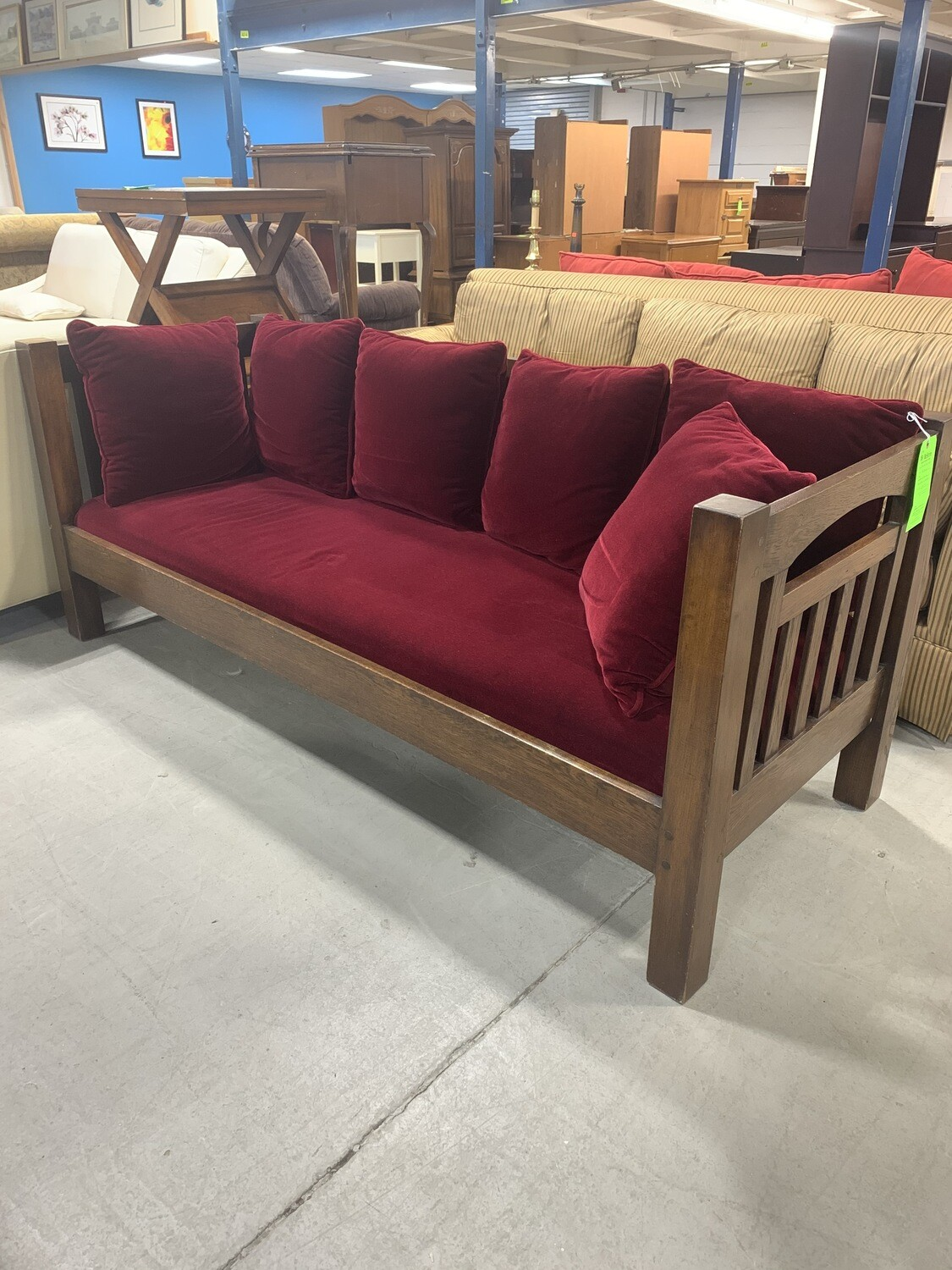 Wooden Settee With Red Velvet Cushions