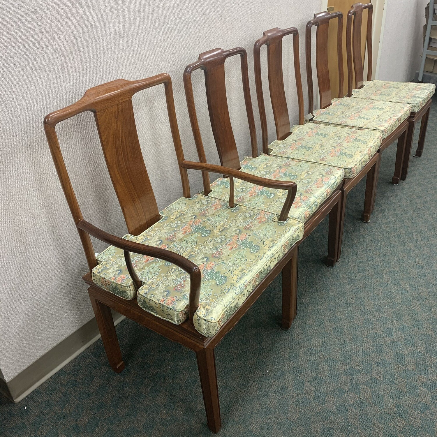 Set OF  5 Hardwood  Dining Chairs With Removable Silk Cushions