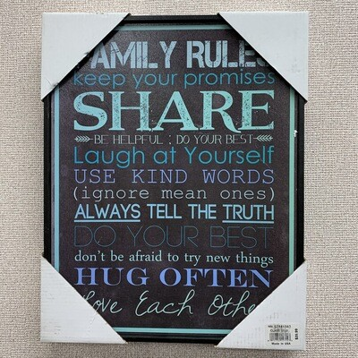 """"""" Family Rules"""" Wall Plaque"""