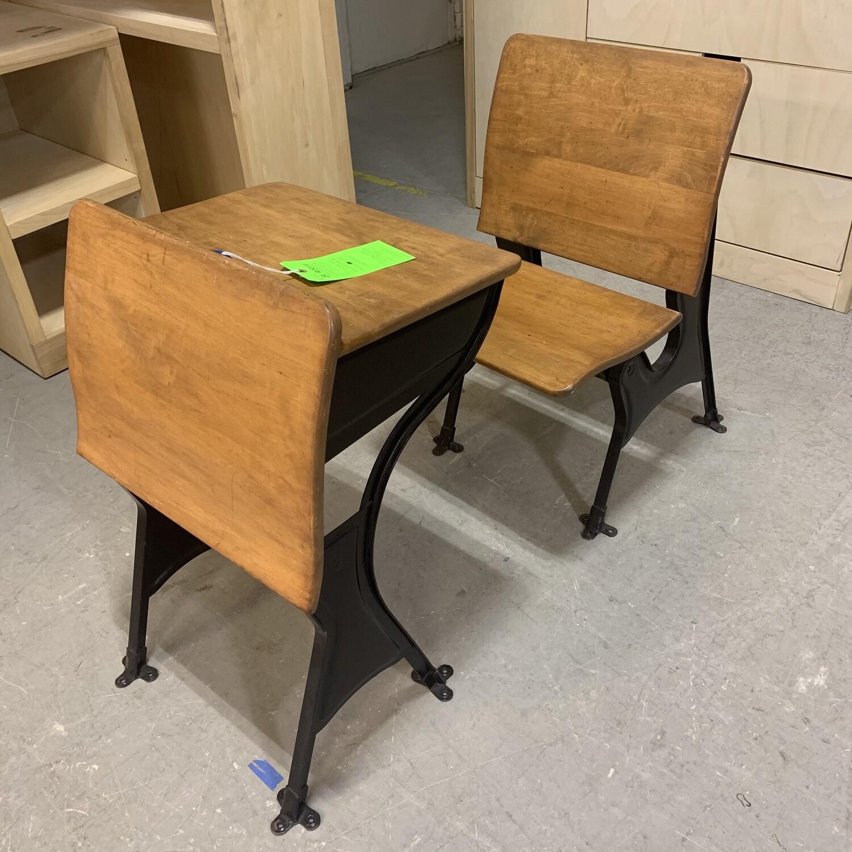 Vintage Wooden School Desk With Steel Legs