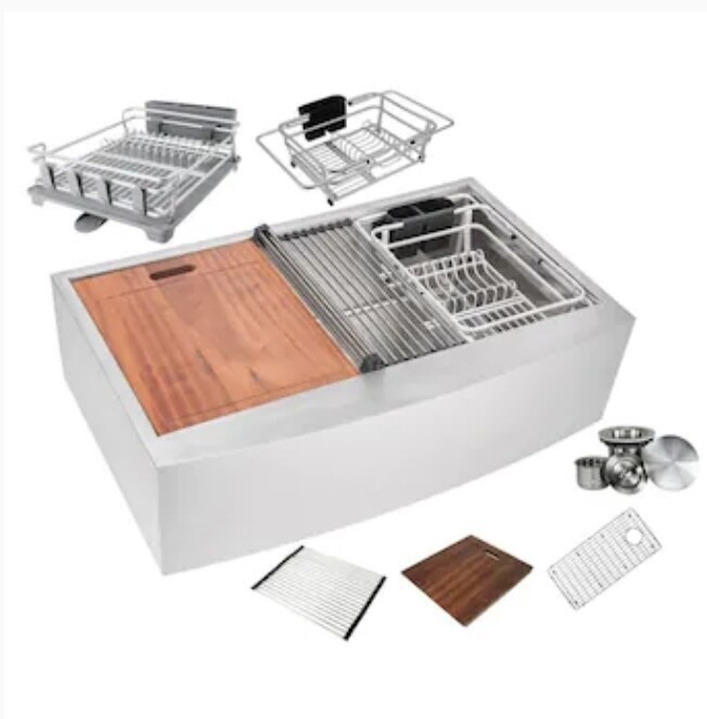 eModernDecor Ariel Farmhouse Apron Front 36-in x 21-in Stainless Steel Single Bowl Workstation Kitchen Sink with Drainboard