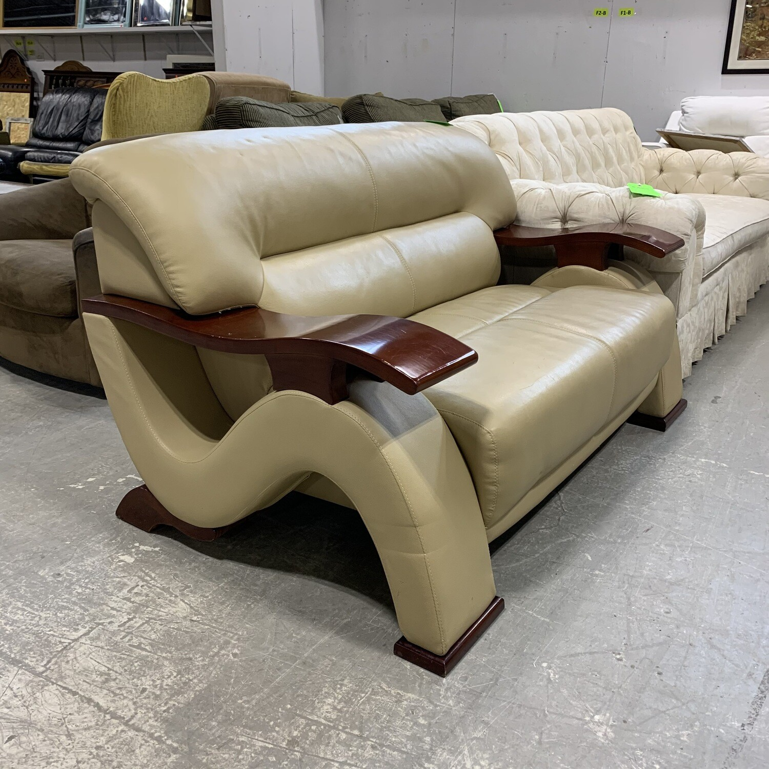 Cappuccino Bonded Leather Love Seat