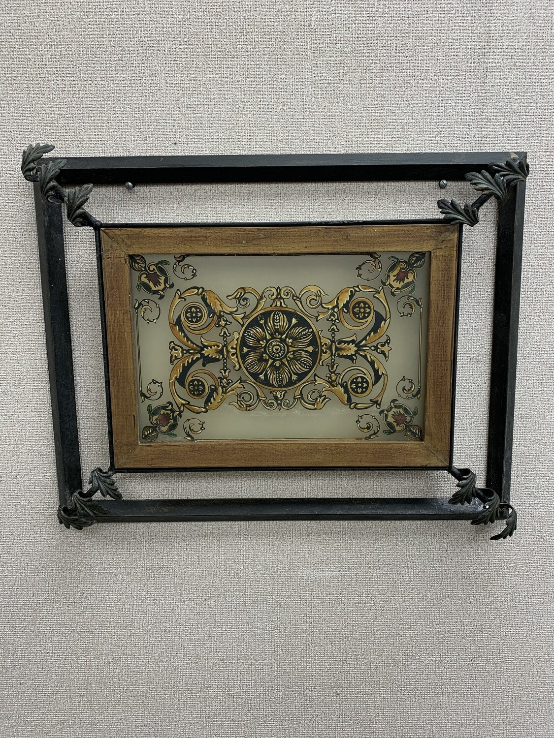 Metal & Glass Hand Painted Decorative Wall Hanging