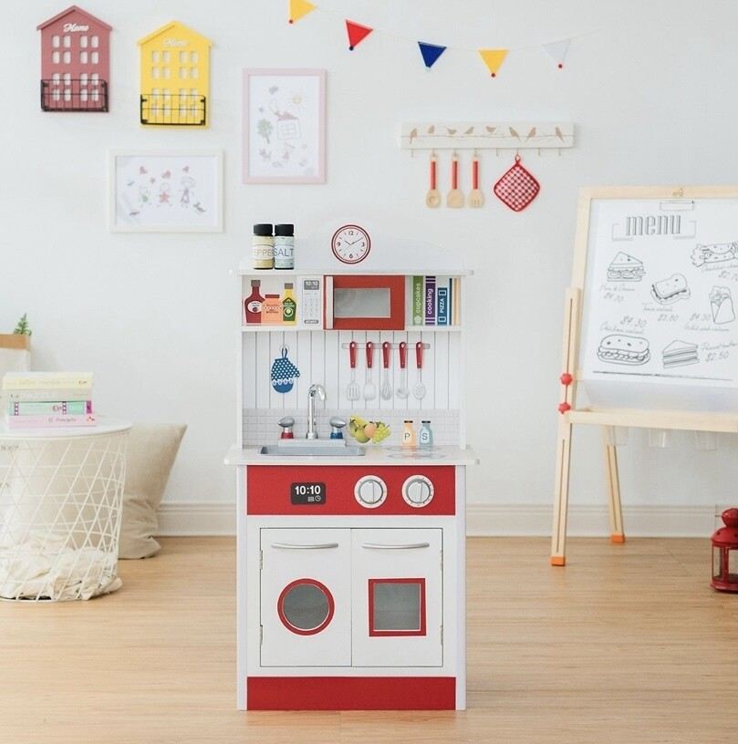 Teamson Kids Little Chef Madrid Classic Play Kitchen - Red / White
