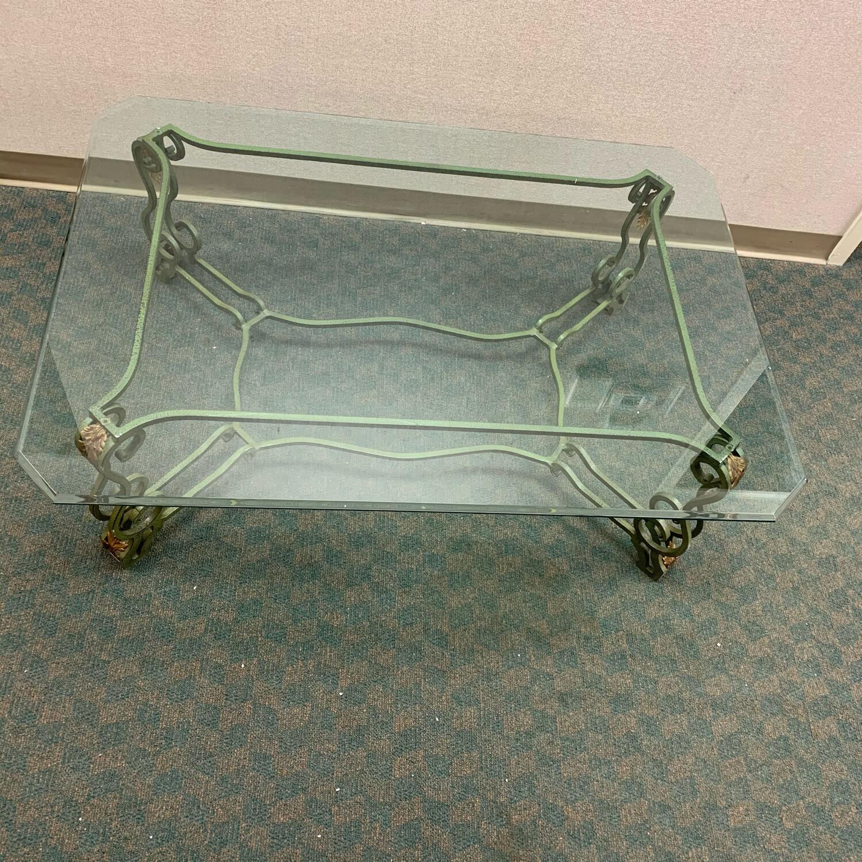 "49"" Iron Base Glass Top Coffee Table"