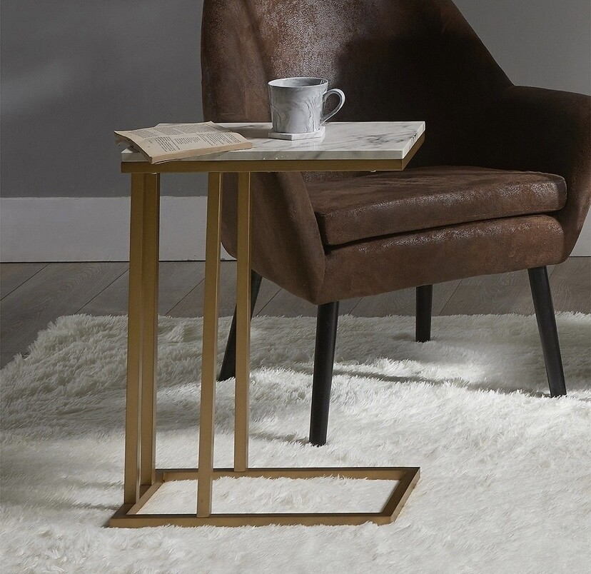 Versanora Marmo C Shape Table Marble Finish/Brass