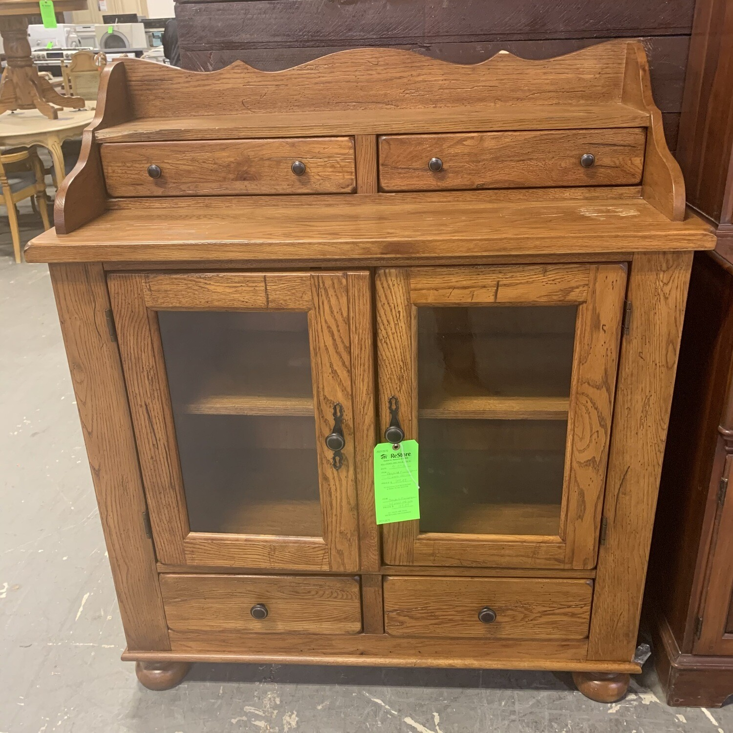 Broyhill Pine Cupboard With Glass Cabinet