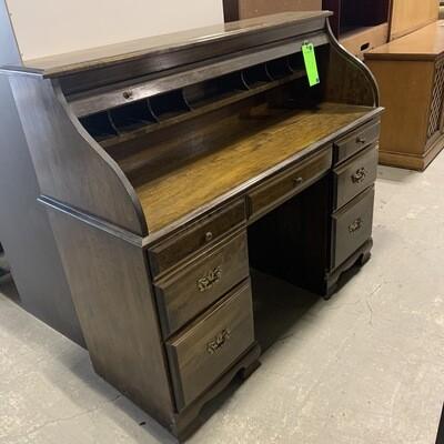 Vintage Dark Wood Roll Top Desk