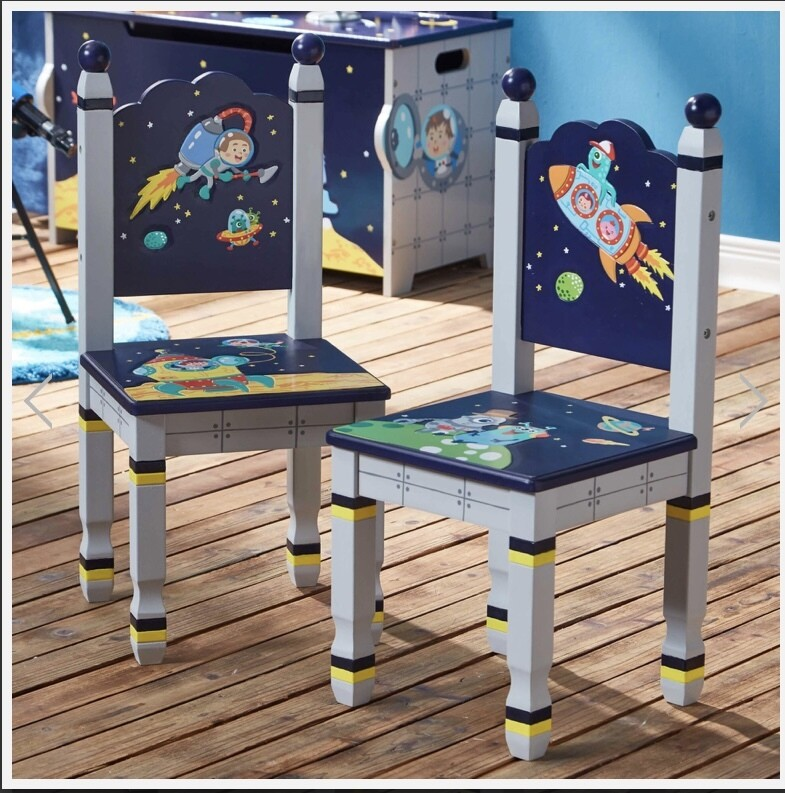 Fantasy Fields by Teamson  OUTER SPACE Childrens Wooden Kids Playtime 2 Chair Set
