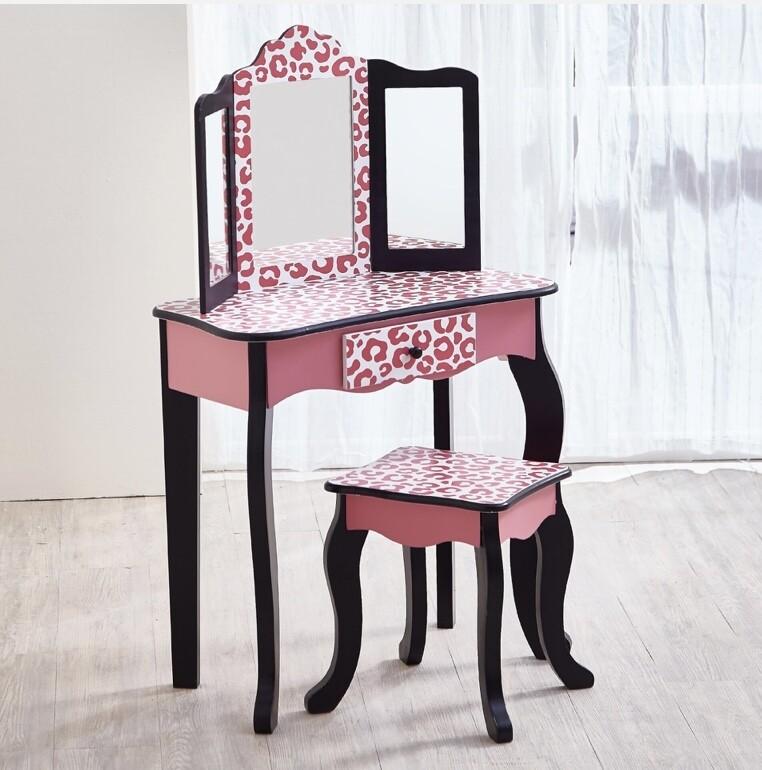 Teamson Kids- Fashion Leopard Prints Gisele Toy Vanity Set Pink/Black