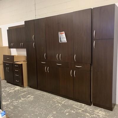 Dark Brown Cabinet Set With Nickel Pulls