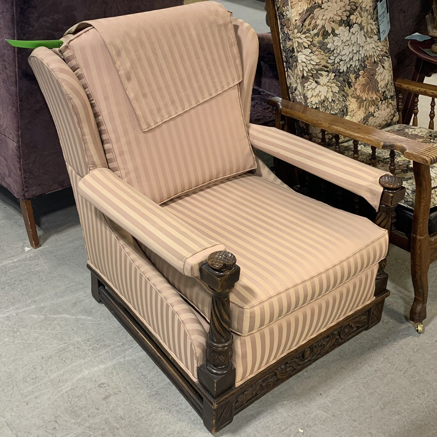 Vintage Pink Striped Arm Chair