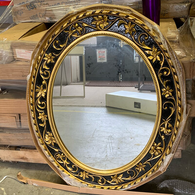 Round Classic Gold Leaf Mirror