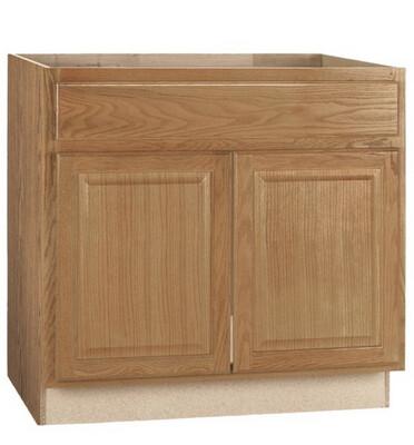 Hampton Bay Medium Oak Raised Panel Stock Assembled Sink Base Kitchen Cabinet KSB36-MO