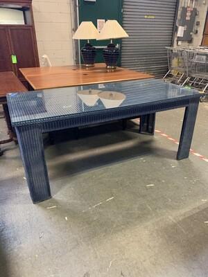 Llyod Loom USA Custom Wicker Table  With Glass Top