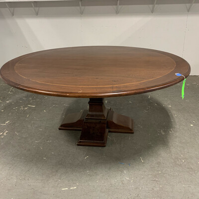 Round Brown Dining Table