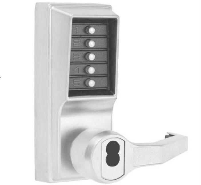 Kaba Simplex Satin Chrome Mechanical Push Button Lockset LR1021B