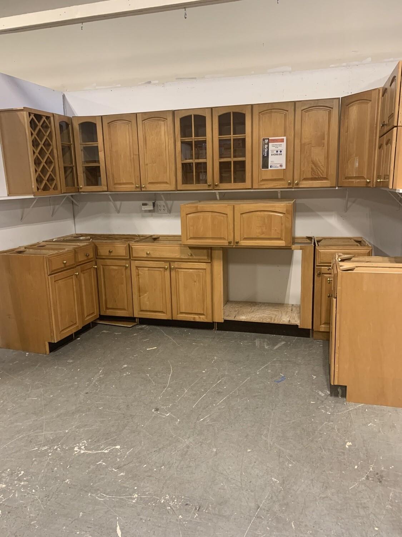 Golden Maple Kitchen Cabinet Set W Brass Knobs