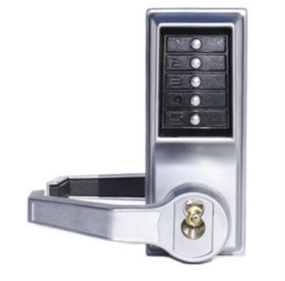 Kaba Simplex Satin Chrome Mechanical Push Button Lockset, Lever, Entry with Key Override LL1021S