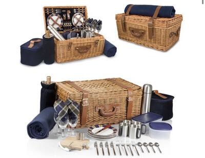 Picnic Time Deluxe Windsor Navy Blue Basket