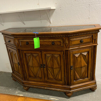Brown Buffet/ Server With Black Top