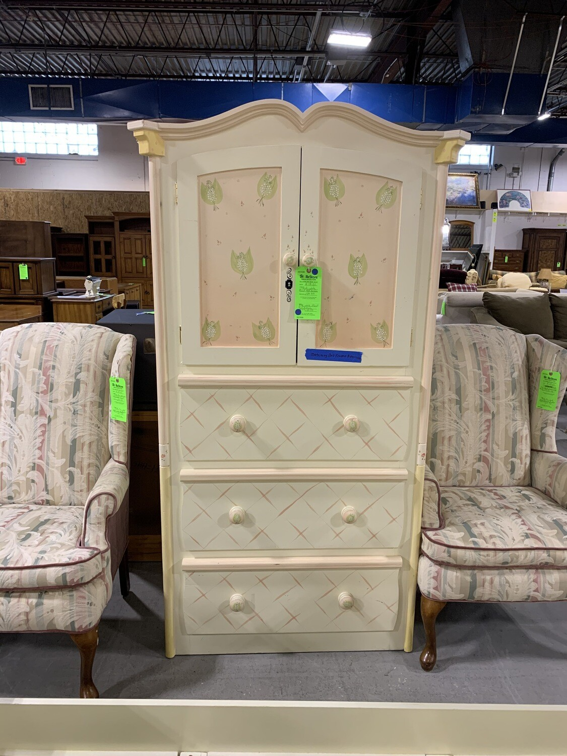 Pink & White Floral Tall Armoire