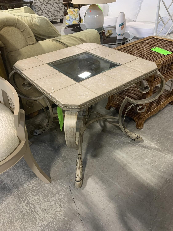 Metal, Tile & Glass Top Table