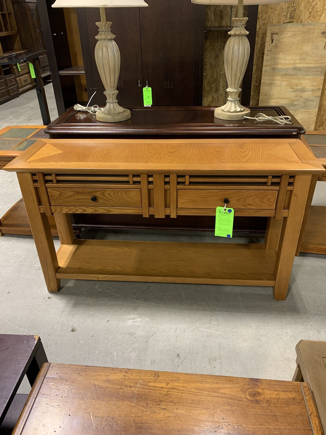 Pine Entryway Table With 2 Drawers