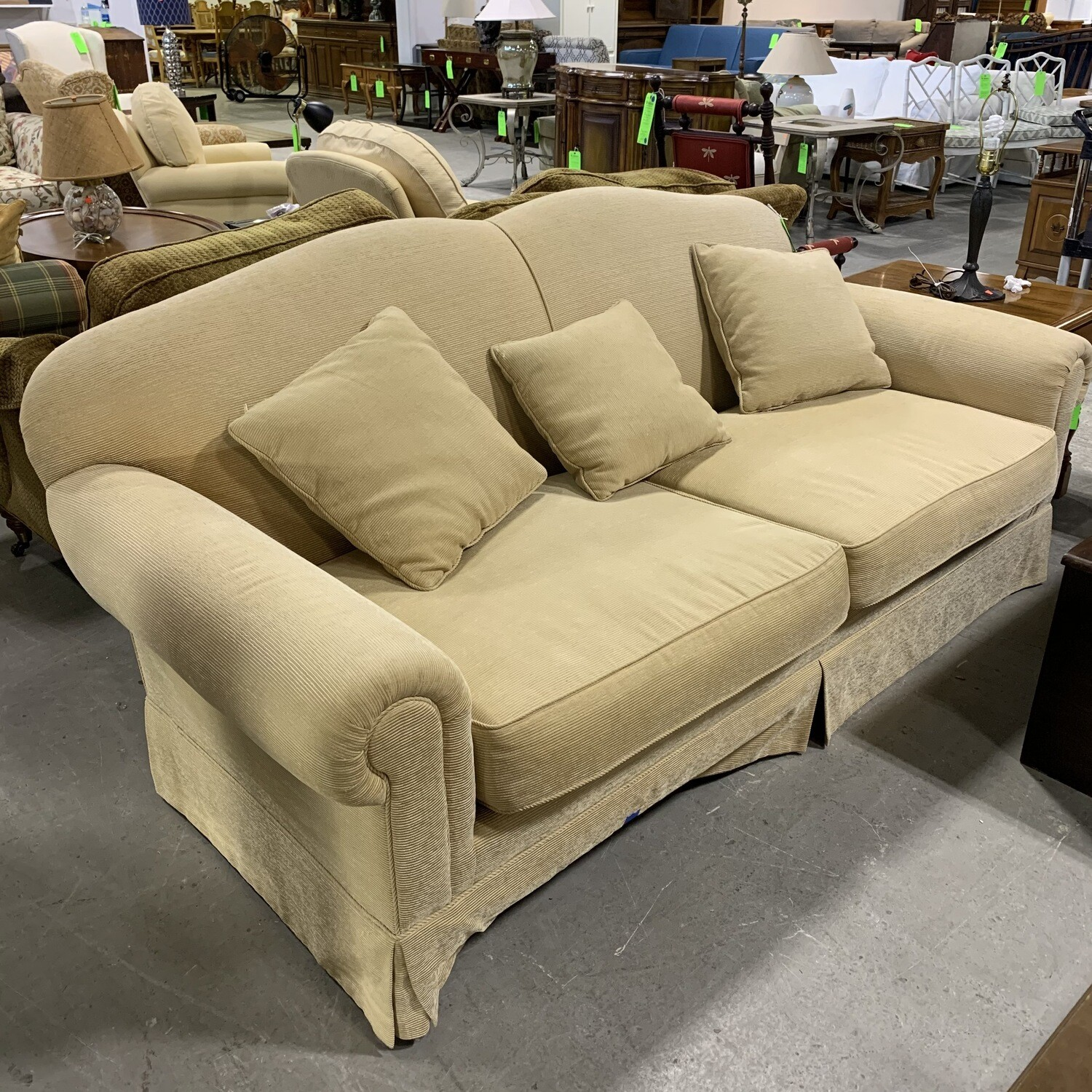 Tan Upholstered Long Couch