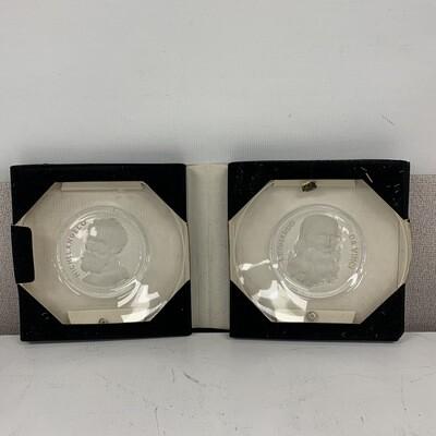 Old Masters Val St. Lambert Crystal Plates(Da Vinci & Michel Angelo)