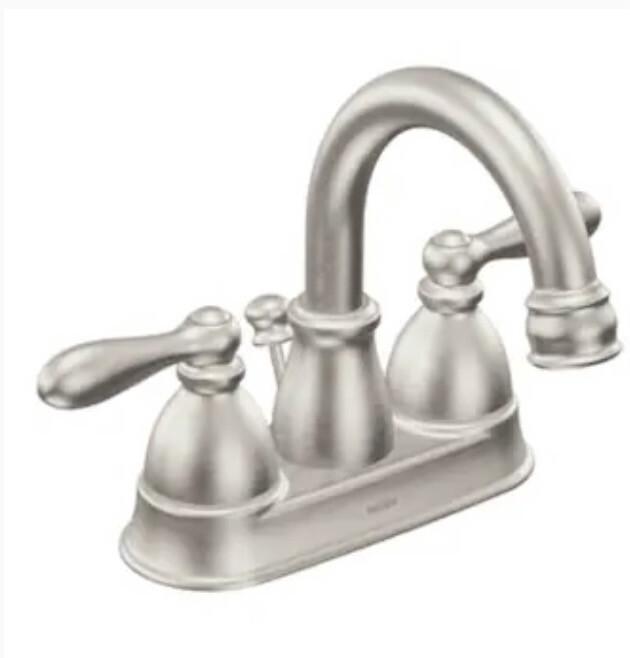 Moen Caldwell Spot Resist Brushed Nickel 2-handle 4-in Centerset WaterSense Bathroom Sink Faucet with Drain