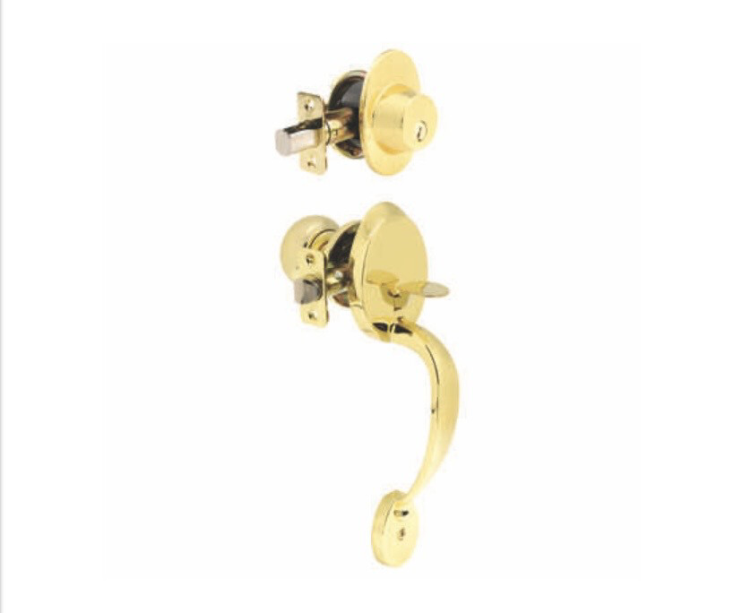 Ace Mayfair Polished Brass Entry Handleset ANSI Grade 2 1-3/4 in.