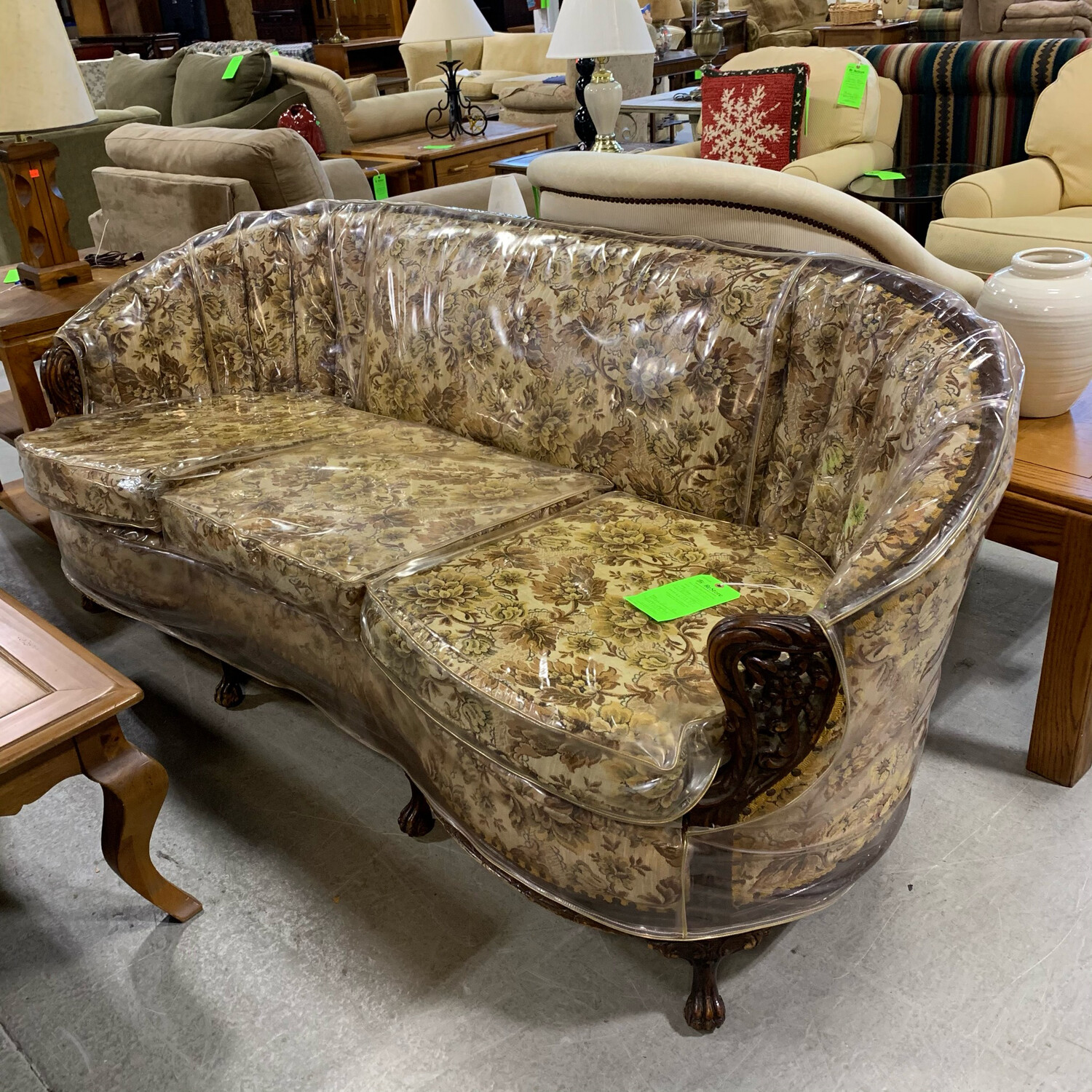 Vintage Floral Round Back Wood Couch