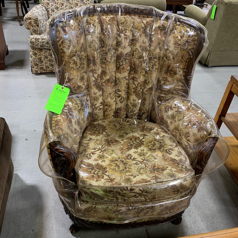 Vintage Floral Wing Back Armchair