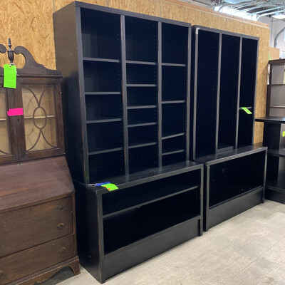 Tall Black Bookcase With Bottom Storage